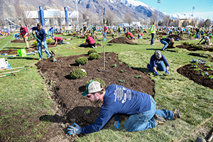Groupd of college students participating in National Collegiate Landscape competition